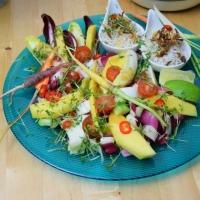 Gebratener Lachs mit Sonnenscheinsalat