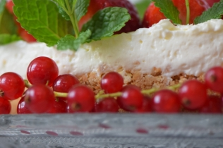 Erdbeer-Käsekuchen mit Ribisel