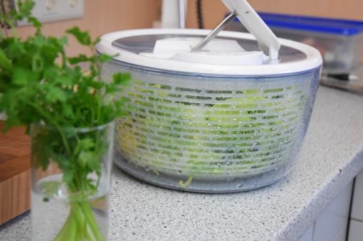 Geröstete Lauch-Käse-Knödelscheiben mit Salat (2)