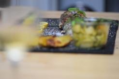Lachsforelle mit grünem Spargel und Pfefferbutter(17)