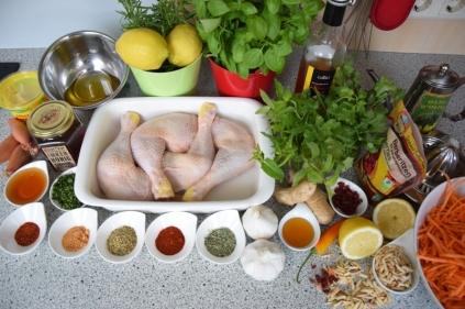 Hähnchenkeulen mit Karottensalat (1)