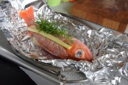 Rotbarsch in Folie mit Gemüse und Zitronenschaum (4)