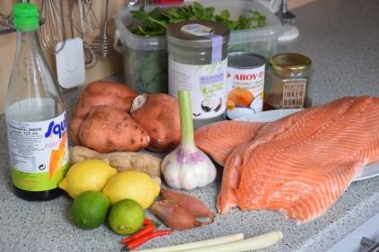 Lachs mit Kokossauce und Kartoffelpüree (1)