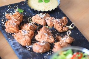 Paniertes Hähnchen mit Miso-Mayonnaise (8)