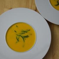 Geräucherte Kürbissuppe mit Wels /Wels mit Queller