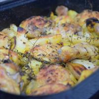 Brathähnchen mit Topinambur und Zitrone