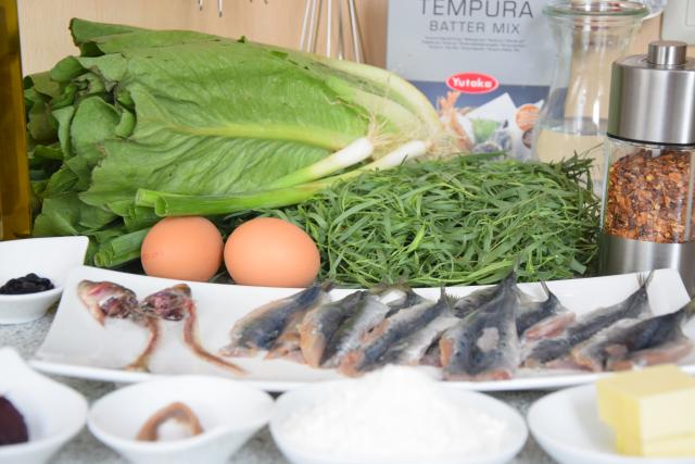 Sardinen mit gegrillten Romanasalatherzen und Estragon-Jus (1)