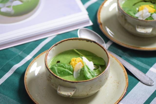 Spinat-Kokossuppe mit Paradieskorn-Chutney (2)