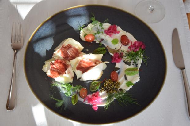 Vanille-Ziegenkäse mit eingelegten Trauben und Kürbiskernpesto (6)