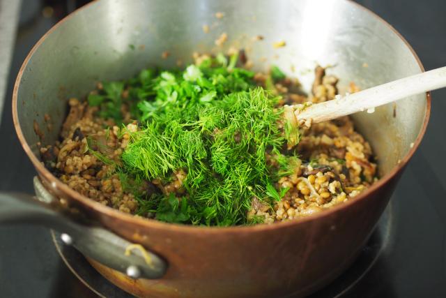 Lauwarmer Linsensalat mit Pilzen (2)