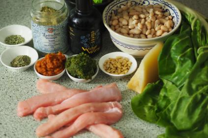 Zutaten für Kaninchen mit Bohnen