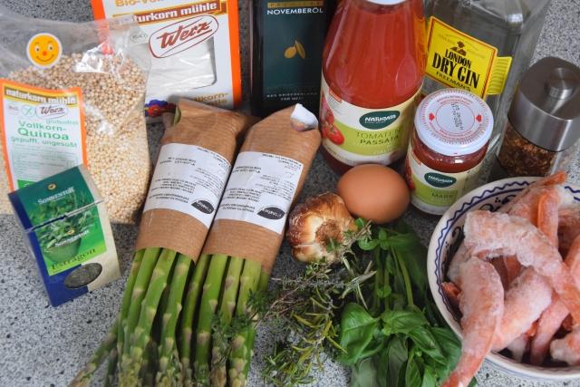 Espárragos y langostinos empanados (1)