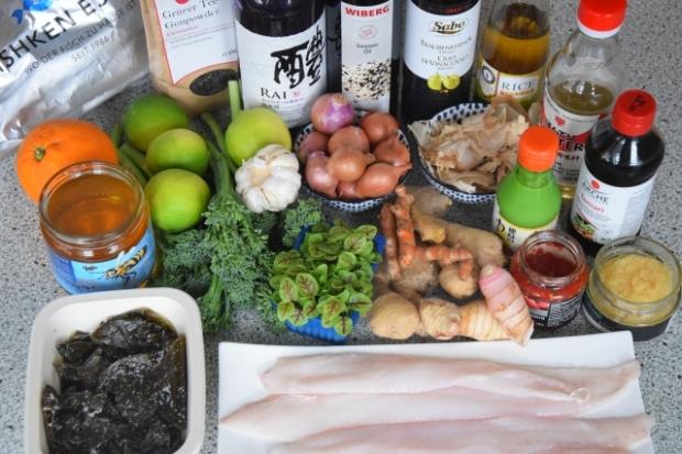 Seezunge, Ponzu, Brokkoli, Reis, Knoblauch-Mayonnaise, grüner Eistee (1)