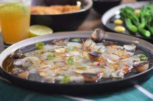 Seezunge, Ponzu, Brokkoli, Reis, Knoblauch-Mayonnaise, grüner Eistee (10)
