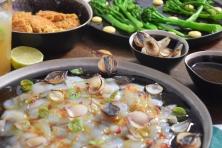 Seezunge, Ponzu, Brokkoli, Reis, Knoblauch-Mayonnaise, grüner Eistee (4)