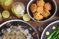 Seezunge, Ponzu, Brokkoli, Reis, Knoblauch-Mayonnaise, grüner Eistee (7)