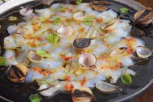 Seezunge, Ponzu, Brokkoli, Reis, Knoblauch-Mayonnaise, grüner Eistee (8)