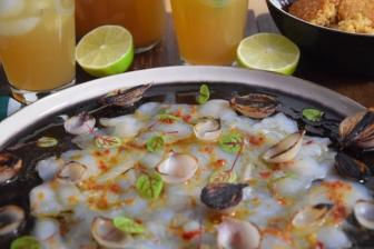 Seezunge, Ponzu, Brokkoli, Reis, Knoblauch-Mayonnaise, grüner Eistee (9)