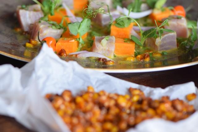 Thunfisch-Ceviche mit Süßkartoffelchips und -würfel (7)