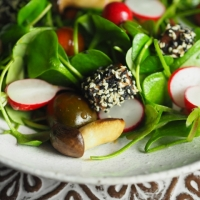 Sesam-Tofu mit Portulak-Salat